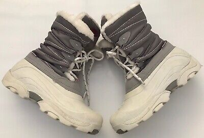 Khombu Womens Uk4 Grey Winter Snow Boots All Weather Faux Fur Lined Insulated