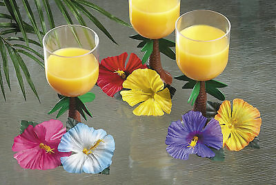 Artificial Silk Hibiscus Flower Leaves Luau Hawaiian Island Theme Party - Luau Party Supplies