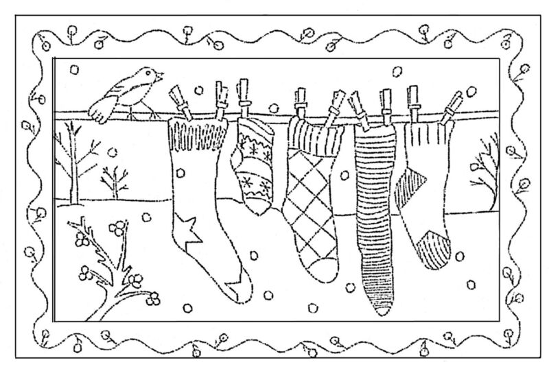 """Rug Hoooking Pattern """" SOX ON A LINE"""" on natural linen"""