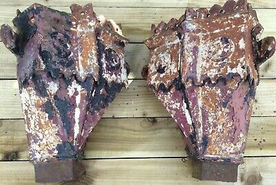 Pair Antique Corner Cast Iron Drain Rain Water Hopper Gothic School Church