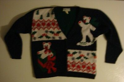 VINTAGE CABIN CREEK Skating Teddy Bear Gift Holly UGLY CHRISTMAS PARTY SWEATER for sale  Titusville