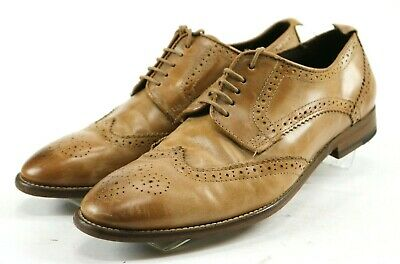Zara Man Men's Wingtip Brogue Dress Shoes Size EU 42 US 9 Leather Brown
