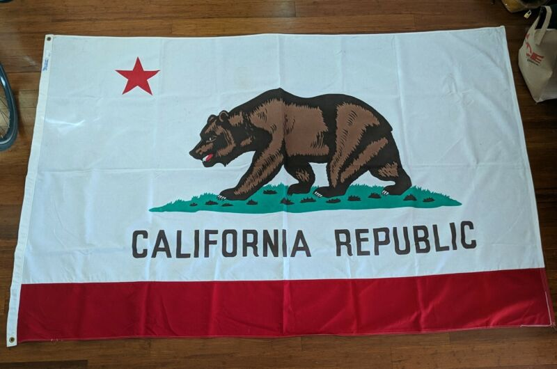Vintage California Flag - 5 x 7 1/2 Ft 100% Cotton - Made in USA CA Bear