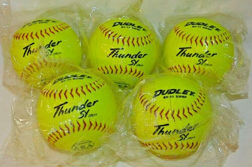 "Dudley® Thunder SY GWSP 11"" Slow-Pitch Softballs, Lot of 5 - NEW"