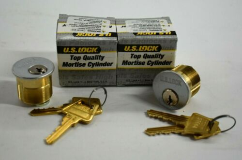 """1 Pair US Lock Brass Mortise Cylinder Locks 1-1/8"""" RX0 26D Matched Keys New"""