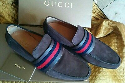 Gucci Men's Brown Suede Web Loafers, Size UK 9,5 EU 43,5. New with box!!!