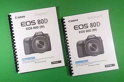 Canon EOS 80D Camera 526 Page Laser Printed Owners Manual Guide