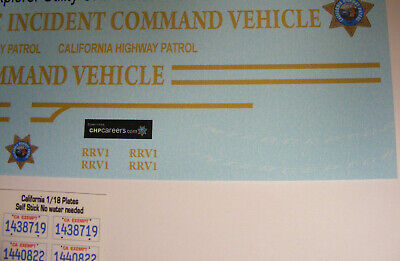 CHP RRV1 Incident Command Vehicle 1/18 Water slide Decal Set fits model cars  ()