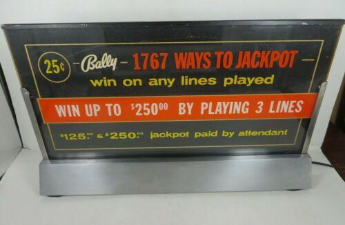 BALLY Gaming Slot MACHINE CASINO lighted topper JACKPOT LED uplit original sign