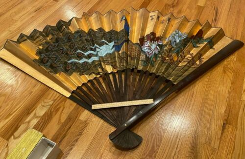 HUGE VINTAGE HAND PAINTED LARGE DECORATIVE WALL FAN DECOR IN  BOX- CHINESE ART