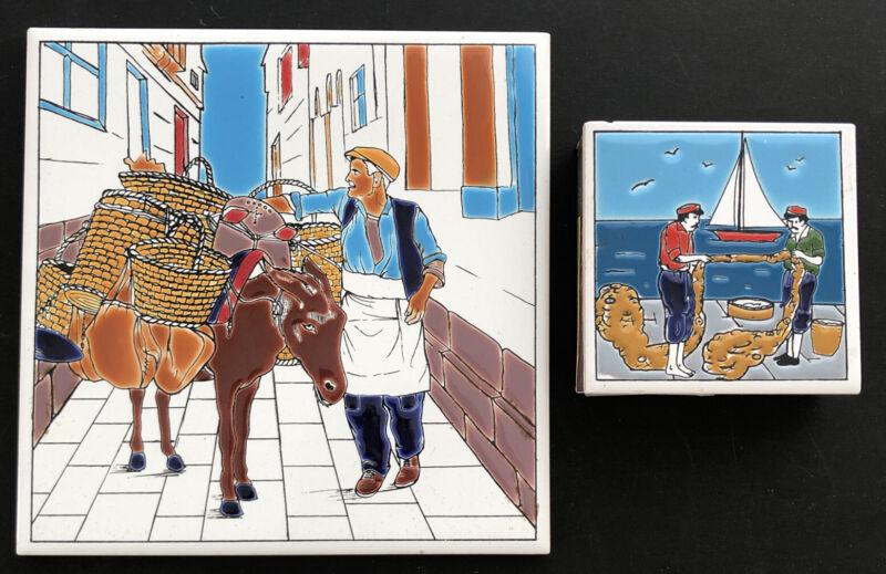 Niarchos Handmade Greek Art Tile Trivet & Matchbox Match Holder Donkey Sailboat