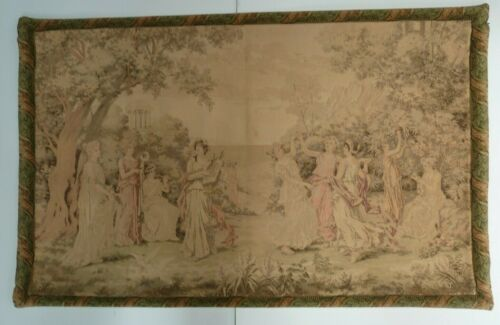 """19TH CENTURY FRENCH TAPESTRY BY LIONEL PERAUX - WEIGHTED TOP/BOTTOM 50"""" x 32"""""""