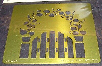 Brass Stencil Garden Gate Arbor Template Burnish Wood Paper