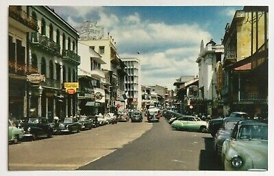 ca 1950s Postcard Panama City Panama Central Avenue cars stores vintage (Panama City Stores)