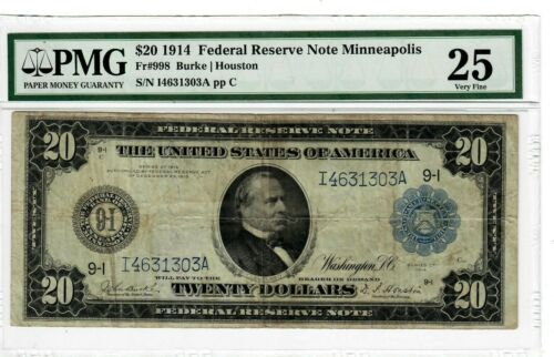 1914 $20 Fr998 FRN MINNEAPOLIS MN PMG Graded VF25 Graded Large Size US Note 2073