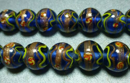 16mm blue w/gold design Lampwork glass beads, 2 st 12/st, New Old Stock LJ198