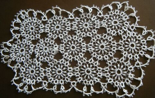 Antique Lace Doily beautiful hand done tatting table topper design white