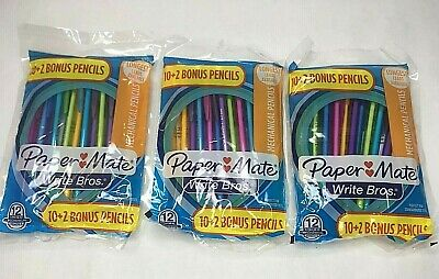 3x Papermate Write Bros. Mechanical Pencils 12-packs 36 Total 0.7mm Hb 2 New