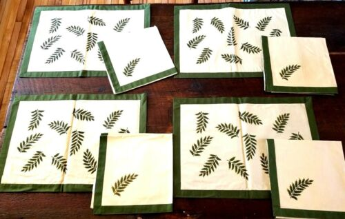 Vintage Cotton Dinner Placemats & Napkins Set of 8 Fern Patterns Green & Cream