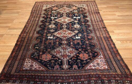 Tremendous Tribal - 1900s Antique Oriental Rug - Nomadic Carpet - 4.7 X 7.5 Ft.