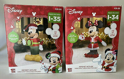 5 Ft Airblown XMAS Disney MICKEY & MINNIE MOUSE Inflatable LED Lit New Tested