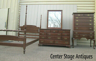 - 58512   ETHAN ALLEN  Bedroom Full Size Poster Bed High Boy and Dresser w/ Mirror