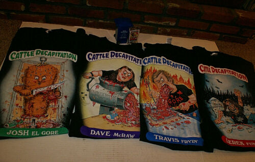 Cattle Decapitation Gorebage Pail Kids 4 Tee Shirt + Cards +Trash Can Promo Set