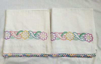 VINTAGE White 100% Cotton Floral Embroidered Edge Pair of Pillow Bolster Cases