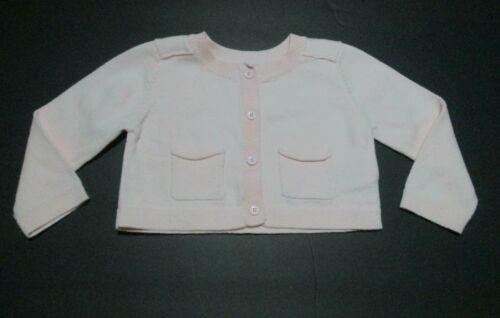 INFANT GIRLS BABY GAP LIGHT PINK POCKET CARDIGAN SWEATER SIZE 6-12 MONTHS