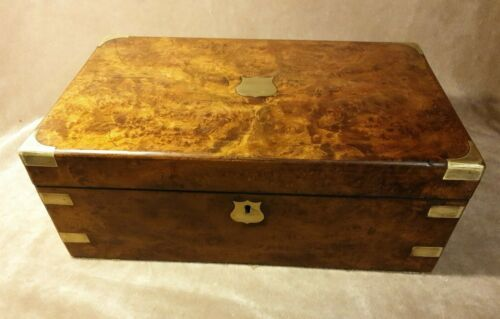 Lovely Walnut, Brass Bound Victorian Writing Slope Circa 1890
