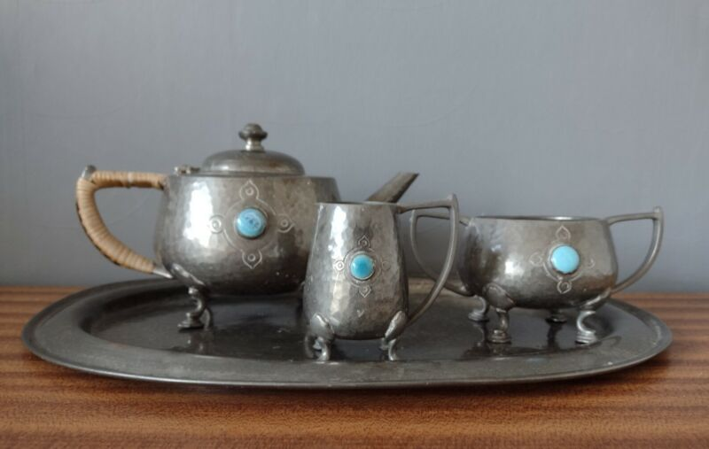 Gladwin, Ruskin pottery Pewter Tea Set And Tray.