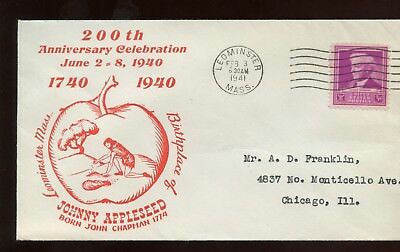 US New England Event Cover (200th Birthday Johnny Appleseed) 1941 Leominster