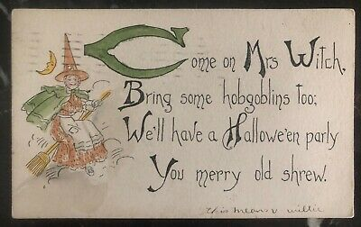 1910s Dallas TX Usa Picture Postcard PPC Cover Halloween Come On Mrs Witch](Halloween Dallas)