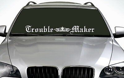 90cm Trouble Maker (02) ANY COLOUR Windscreen Sticker EUR Driftcar Vinyl Decal