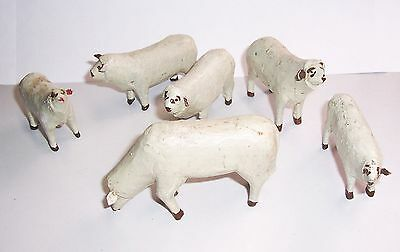 Convolute 6 Ancient Erzgebirge Sheep Nativity Figurines Hand-Carved um 1900