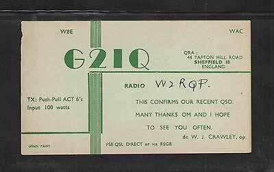 1940s G2IQ QSL CARD ENGLAND USED