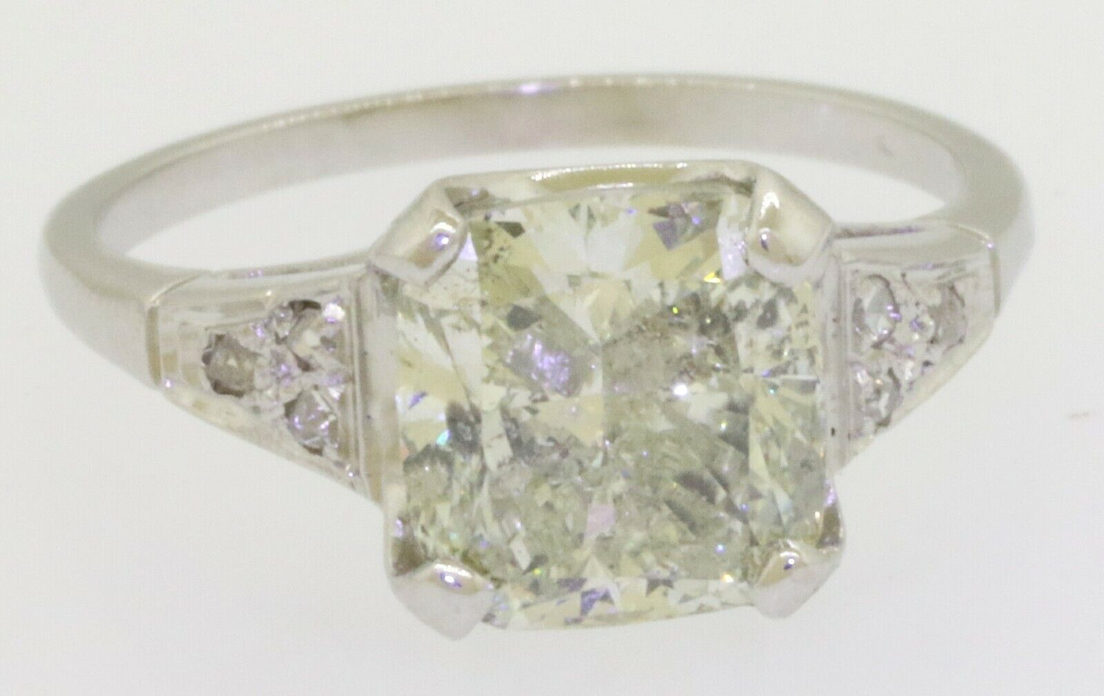 14K white gold 3.46CTW Radiant diamond wedding/engagement ring w/ 3.40CT ctr.