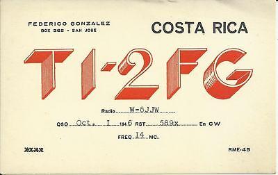 OLD VINTAGE TI-2FG SAN JOSE COSTA RICA AMATEUR RADIO QSL CARD