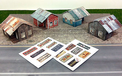 Z Scale Buildings - 4 pcs Small Weathered Buildings / Shanty - Cardstock kit set for sale  Canada