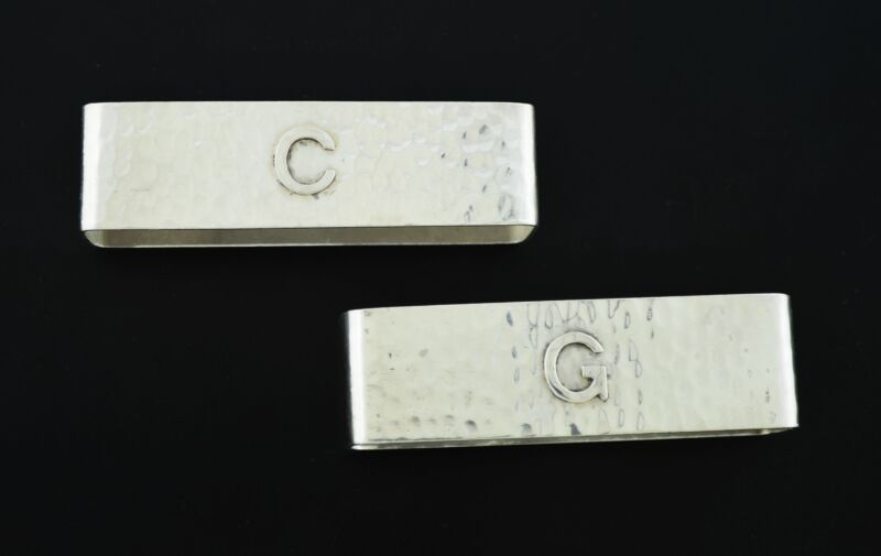 """Pair Of Lebolt & Co Arts & Crafts Sterling Silver Napkin Rings Monogram """"C"""" """"G"""""""