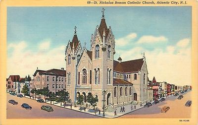 Atlantic City NJ~St Nicholas Roman Catholic Church~Stores Down Street~1939