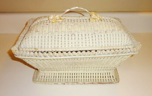 Antique Chippy Painted Wicker Rattan Sewing Basket Box - Cottage Core