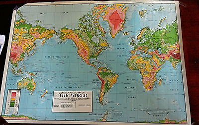 2 RARE Vintage Plastic 1960's Raised Relief Map's The World & The 50 States 1963