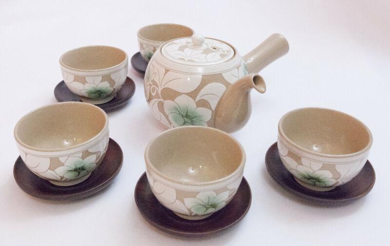 Lotus Korean KwangJuYo Classic MokBuYong-Mun 5 person Porcelain Tea-pot Set