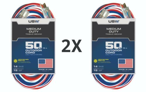 """2 Pack 50 ft. Lighted extension cord """"USW outdoor cord"""""""