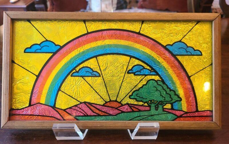 "VINTAGE 1970s RAINBOW~Carnival Glass~FOIL PICTURE~12"" X 7"""