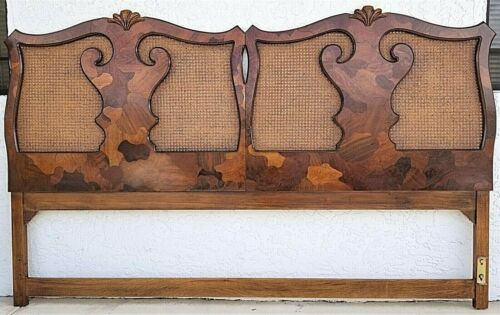 AMERICAN OF MARTINSVILLE French Provincial Caned Multi Wood King Headboard