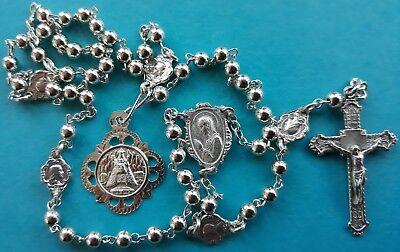 ANTIQUE ART NOUVEAU DECO Catholic Scapular connectors ROSARY Sterling Siver