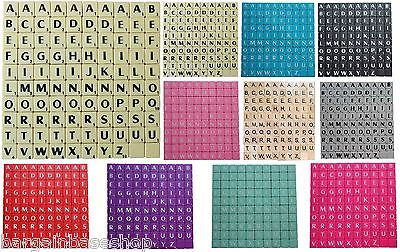 SCRABBLE TILES BLACK/WHITE LETTERS FULL SET 100 PIECES -WOODEN/PLASTIC COLOURED