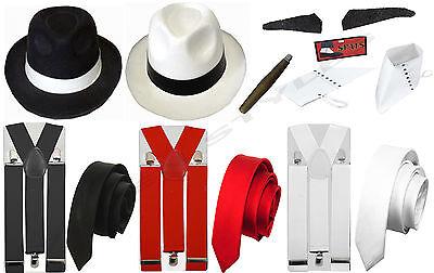 ADULT GANGSTER PIMP 1920S HAT TIE BRACES SPATS TASH CIGAR FANCY DRESS COSTUME - 1920s Gangster Hat